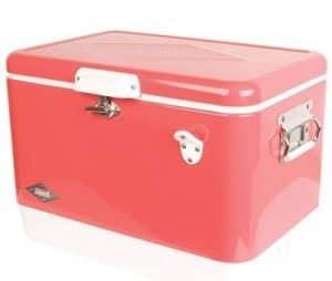Coleman vintage steel belted portable pink cooler